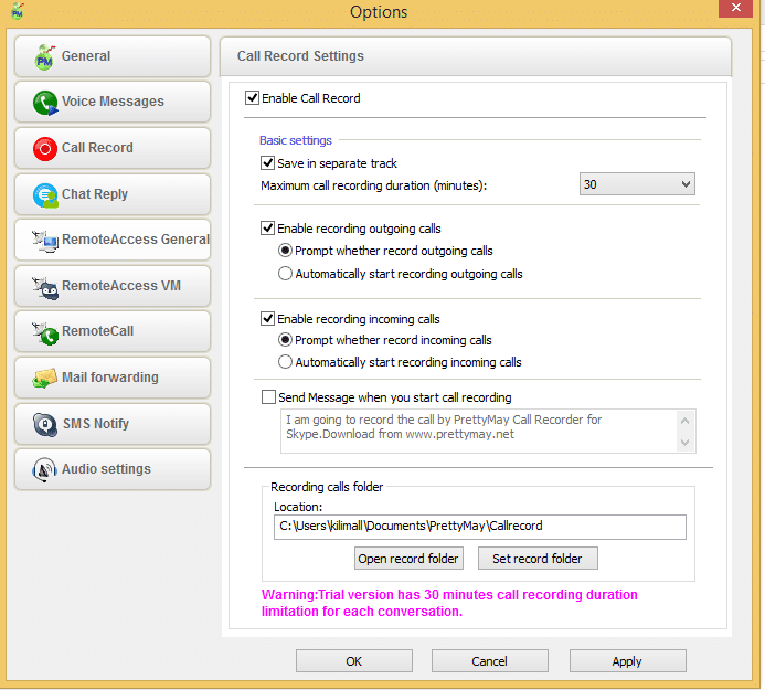 PrettyMay Call Recorder for Skype Basic screenshot