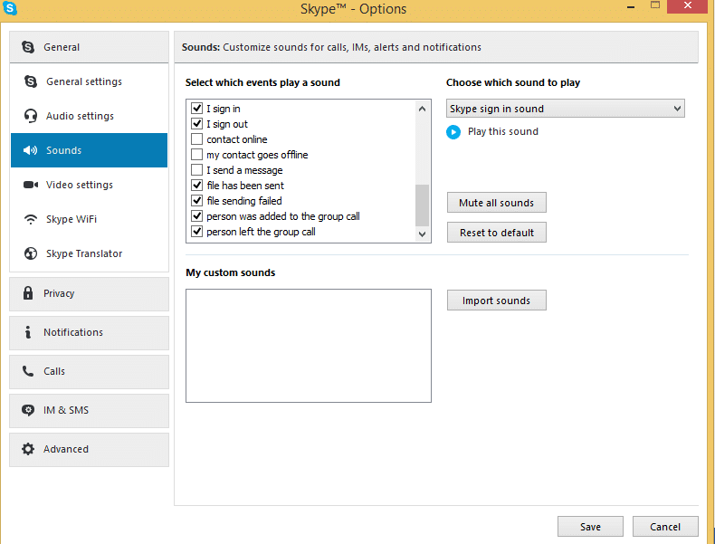 sound settings in Skype