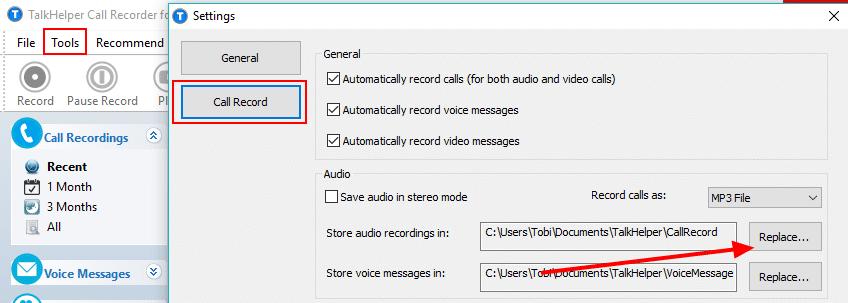 check recording folder