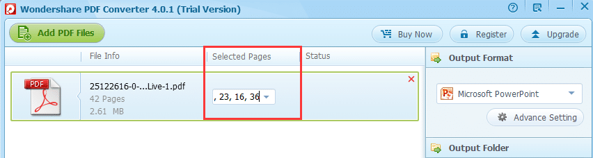 select pages for conversion
