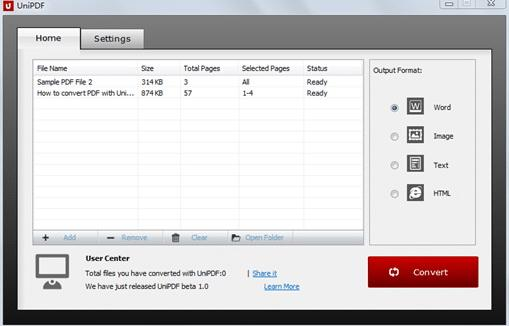 UniPDF PDF To Word Converter