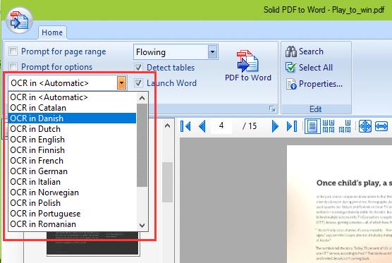 OCR in multiple languages