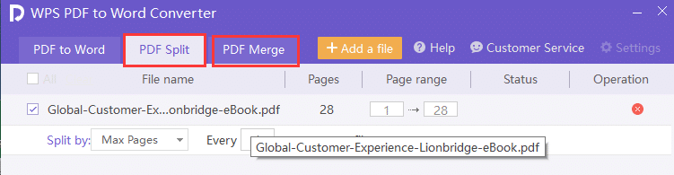Page Merge and Page Split Options