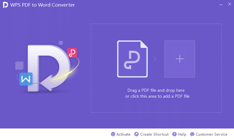 WPS PDF To Word Converter UI