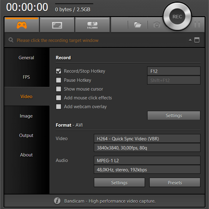 bandicam录屏软件