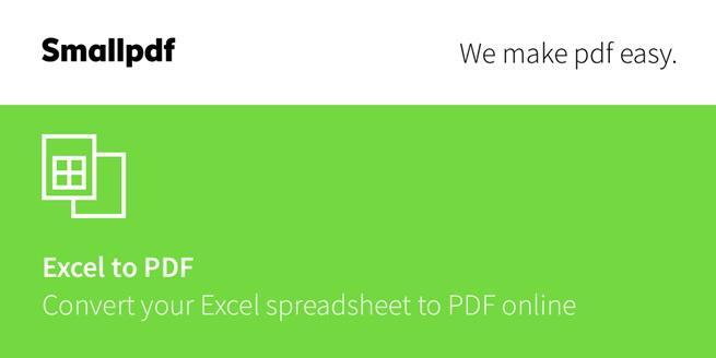 SmallPDf xlsx to pdf