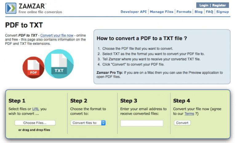 zamzar pdf to text