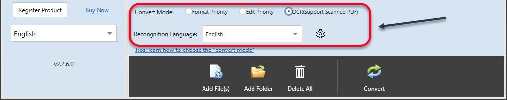 select ocr language